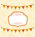 Autumn Cute Frame with Bunting Pennants vector image vector image