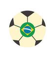 brazil soccer ball flat style icon design vector image vector image