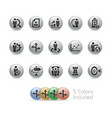 business strategies icons - metal round series vector image vector image