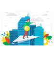 businessman with idea on paper plane business vector image
