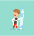 cartoon baby boy character in white coat and vector image vector image