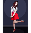 cartoon cute girl posing on one leg vector image vector image