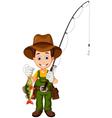 cartoon Fisherman and fish vector image vector image