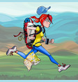 cartoon woman tourist with backpack runs fast vector image vector image