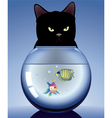 cat and aquarium vector image