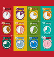clock set five to sixty minutes alarm clock icons vector image