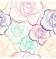 Color outline roses on white seamless pattern vector image vector image