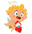 cupid or angel cartoon character for valentines vector image vector image