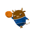 cute funny little bull student playing basketball vector image vector image