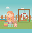 cute girl with drum bear pyramid in park kids vector image vector image