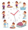 daily routine clocks daily routine clocks vector image vector image