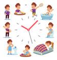 daily routine clocks daily routine clocks vector image