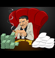 drug lord in chair vector image