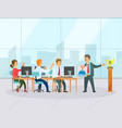 employees creative strategy teamwork win vector image vector image