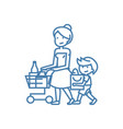 family shopping linear icon concept family vector image vector image
