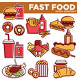 fast food menu meals burgers sandwiches desserts vector image