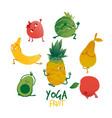 flat fruits practicing yoga stretching set vector image vector image