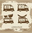 food trucks set - vintage poster with truck vector image vector image