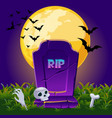 gravestone at night with full moon halloween vector image