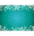 Green background with frame of snowflakes vector image