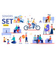 happy senior people flat characters set vector image