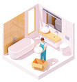 isometric plumber installing sink vector image