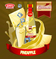juice pineapple ads with logo and label realistic vector image
