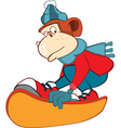 Monkey Snowboarding Cartoon Charac vector image