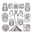 monochrome pictures set of mayan culture symbols vector image vector image