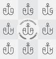 Monograms or logotype with anchor and letters line vector image