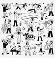 musicians doodles set vector image vector image