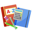 office accessory notebook and calculator vector image vector image