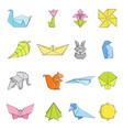 origami icons set cartoon style vector image vector image