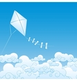 paper kite up in the clouds vector image vector image