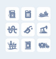 petroleum industry icons set vector image vector image