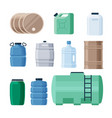 plastic and iron containers liquid set production vector image vector image