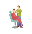 procedure for men in barber shop cartoon banner vector image