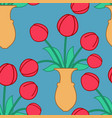 red tulip in vase seamless pattern beautiful vector image vector image