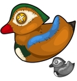 Retro handmade soft toy male wood duck vector image vector image
