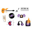 rock music attributes symbols icon set vector image