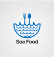 sea food with water wave logo concept icon vector image vector image