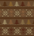 Seamless knitted pattern with trees and snowflakes vector image