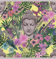 seamless vintahe style pattern with buddha vector image