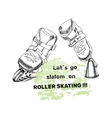 set for Roller Skates with text Isolated logo vector image vector image