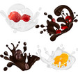 set of realistic chocolate and milk splashes vector image