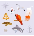 set of tropic sea travel icons vector image vector image