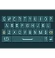 Smartphone keyboard dark with alphabet vector image