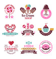 sweets logo badges for candy shop confectionery vector image vector image