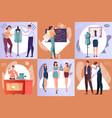 tailoring six square compositions vector image