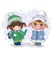 two cute little cows in winter clothing vector image vector image
